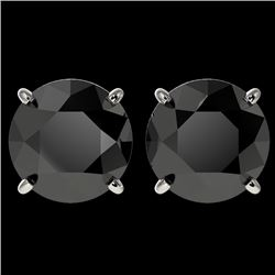 4 CTW Fancy Black VS Diamond Solitaire Stud Earrings 10K White Gold - REF-96R9K - 33134