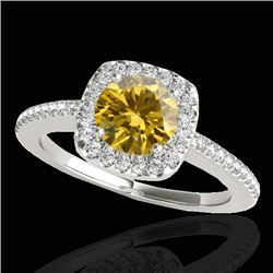1.25 CTW Certified Si Fancy Intense Yellow Diamond Solitaire Halo Ring 10K White Gold - REF-161H8W -