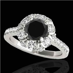 2.05 CTW Certified Vs Black Diamond Solitaire Halo Ring 10K White Gold - REF-100K2R - 33912