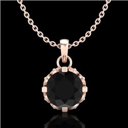 0.85 CTW Fancy Black Diamond Solitaire Art Deco Stud Necklace 18K Rose Gold - REF-81M8F - 37367