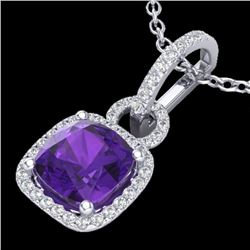 3.50 CTW Amethyst & Micro VS/SI Diamond Certified Necklace 18K White Gold - REF-68Y9N - 22975