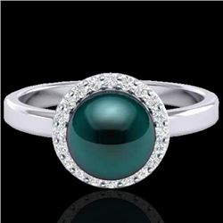 0.25 CTW Micro Pave Halo VS/SI Diamond & Peacock Pearl Ring 18K White Gold - REF-53T6X - 21636