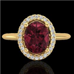1.75 CTW Garnet & Micro Pave VS/SI Diamond Ring Solitaire Halo 18K Yellow Gold - REF-43X6T - 21013