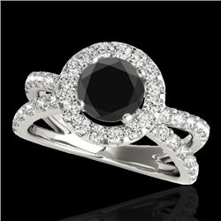 2.01 CTW Certified Vs Black Diamond Solitaire Halo Ring 10K White Gold - REF-99T5X - 34028