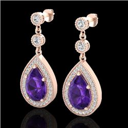 4.50 CTW Amethyst & Micro Pave VS/SI Diamond Certified Earrings 14K Rose Gold - REF-61X8T - 23110