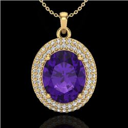 4 CTW Amethyst & Micro Pave VS/SI Diamond Certified Necklace 18K Yellow Gold - REF-91W8H - 20552