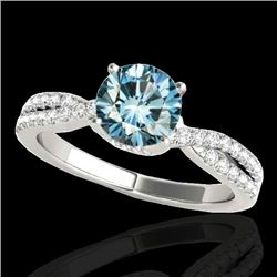 1.3 CTW SI Certified Fancy Blue Diamond Solitaire Ring 10K White Gold - REF-174M5F - 35279