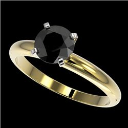 1.25 CTW Fancy Black VS Diamond Solitaire Engagement Ring 10K Yellow Gold - REF-39M5F - 32908