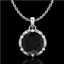 1.36 CTW Fancy Black Diamond Solitaire Art Deco Stud Necklace 18K White Gold - REF-85M5F - 38101