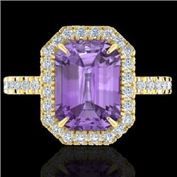53 CTW Amethyst And Micro Pave VS/SI Diamond Certified Halo Ring 18K Yellow Gold - REF-60F2M - 21418