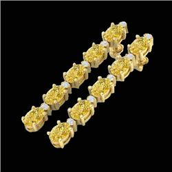 15.47 CTW Citrine & VS/SI Certified Diamond Tennis Earrings 10K Yellow Gold - REF-75N6Y - 29477