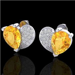 2.50 CTW Citrine & Micro Pave VS/SI Diamond Certified Earrings 10K White Gold - REF-30W2H - 20070