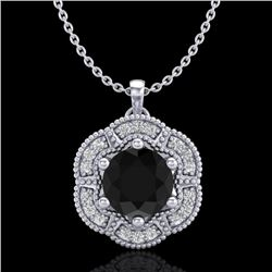 1.01 CTW Fancy Black Diamond Solitaire Art Deco Stud Necklace 18K White Gold - REF-74W2H - 37968
