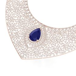63.93 CTW Royalty Sapphire & VS Diamond Necklace 18K Rose Gold - REF-2563M6F - 39577