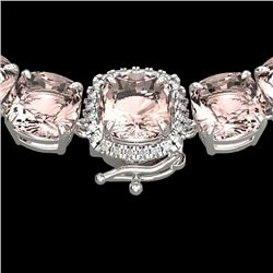 87 CTW Morganite & VS/SI Diamond Halo Micro Necklace 14K White Gold - REF-1163K6R - 23352