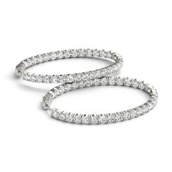 7 CTW Diamond VS/SI Certified 20 Mm Hoop Earrings 14K White Gold - REF-824K8R - 29110