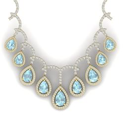 32.62 CTW Royalty Sky Topaz & VS Diamond Necklace 18K Yellow Gold - REF-781T8X - 39356