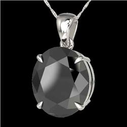 9 CTW Black VS/SI Diamond Certified Designer Solitaire Necklace 18K White Gold - REF-200N5Y - 21895