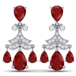 11.97 CTW Royalty Designer Ruby & VS Diamond Earrings 18K White Gold - REF-176F4M - 38718