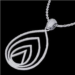 1.25 CTW Micro Pave VS/SI Diamond Certified Designer Necklace 18K White Gold - REF-119H8W - 22479