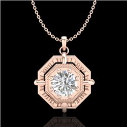 0.75 CTW VS/SI Diamond Solitaire Art Deco Stud Necklace 18K Rose Gold - REF-202T5X - 36879