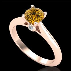 0.83 CTW Intense Fancy Yellow Diamond Engagement Art Deco Ring 18K Rose Gold - REF-109M3F - 38198