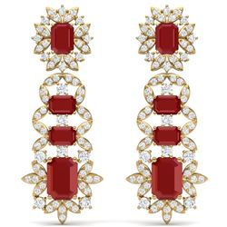 30.25 CTW Royalty Designer Ruby & VS Diamond Earrings 18K Yellow Gold - REF-618R2K - 39410