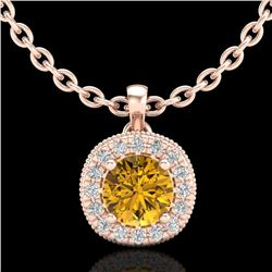 1.1 CTW Intense Fancy Yellow Diamond Art Deco Stud Necklace 18K Rose Gold - REF-121T8X - 38002