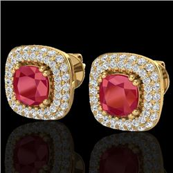 2.16 CTW Ruby & Micro VS/SI Diamond Earrings Solitaire Double Halo 18K Yellow Gold - REF-105F6M - 20