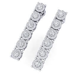 2 CTW Certified SI/I Diamond Halo Earrings 18K White Gold - REF-132X3T - 40172
