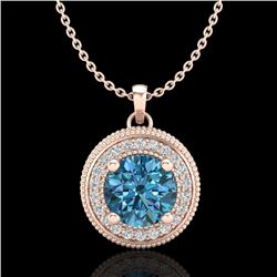 1.25 CTW Fancy Intense Blue Diamond Solitaire Art Deco Necklace 18K Rose Gold - REF-132N8Y - 38021