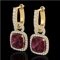7 CTW Garnet & Micro Pave VS/SI Diamond Certified Earrings 18K Yellow Gold - REF-100N8Y - 22965