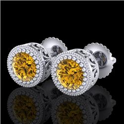 1.09 CTW Intense Fancy Yellow Diamond Art Deco Stud Earrings 18K White Gold - REF-123M6F - 37483