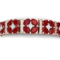 39.78 CTW Royalty Ruby & VS Diamond Bracelet 18K Rose Gold - REF-636F4M - 39016