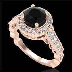 1.91 CTW Fancy Black Diamond Solitaire Engagement Art Deco Ring 18K Rose Gold - REF-130F9M - 37682