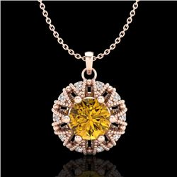 1.2 CTW Intense Fancy Yellow Diamond Art Deco Stud Necklace 18K Rose Gold - REF-134R5K - 37743