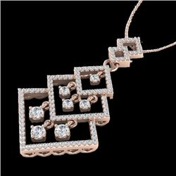 1.50 CTW Micro Pave VS/SI Diamond Certified Necklace Dangling 14K Rose Gold - REF-134W2H - 22494