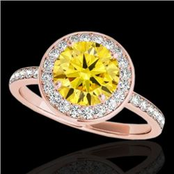 1.5 CTW Certified Si Fancy Intense Yellow Diamond Solitaire Halo Ring 10K Rose Gold - REF-129T5X - 3