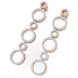 1.50 CTW Certified SI/I Diamond Halo Earrings 18K Rose Gold - REF-126X5T - 40182