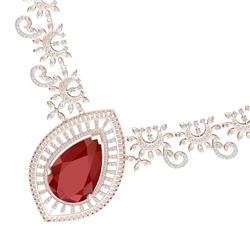 65.75 CTW Royalty Ruby & VS Diamond Necklace 18K Rose Gold - REF-1581R8K - 39778