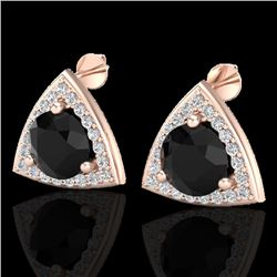 3.50 CTW Micro Pave Halo Black VS/SI Diamond Stud Earrings 14K Rose Gold - REF-104W2H - 20182