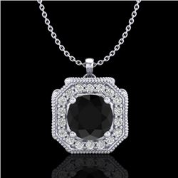 1.54 CTW Fancy Black Diamond Solitaire Art Deco Stud Necklace 18K White Gold - REF-120H2W - 38290