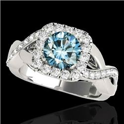 1.65 CTW SI Certified Fancy Blue Diamond Solitaire Halo Ring 10K White Gold - REF-181Y3N - 33312