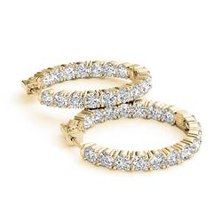 8 CTW Diamond VS/SI Certified 23 Mm Hoop Earrings 14K Yellow Gold - REF-936T8X - 29025