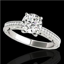 1.25 CTW H-SI/I Certified Diamond Solitaire Antique Ring 10K White Gold - REF-158X2T - 34738