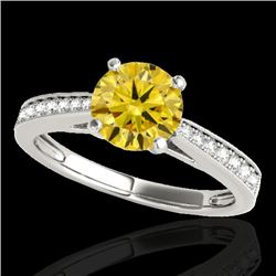 1.25 CTW Certified Si Fancy Intense Yellow Diamond Solitaire Ring 10K White Gold - REF-158H2W - 3501