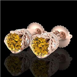 1.85 CTW Intense Fancy Yellow Diamond Art Deco Stud Earrings 18K Rose Gold - REF-172W8H - 37414
