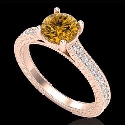 1.45 CTW Intense Fancy Yellow Diamond Engagement Art Deco Ring 18K Rose Gold - REF-209Y3N - 37757