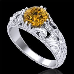 1 CTW Intense Fancy Yellow Diamond Engagement Art Deco Ring 18K White Gold - REF-190T9X - 37532