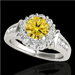 1.9 CTW Certified Si Fancy Intense Yellow Diamond Solitaire Halo Ring 10K White Gold - REF-206K4R -